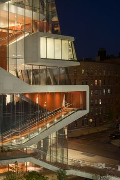 "The Vagelos Education Center façade features ceramic ""frit"" patterns 