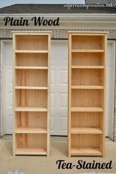 solid wood shelving unit 2 – 1×12 @ 80 3/4″ (sides) 4 – 1×2 @ 11 1/4″ (side trim) 4 – 2×2 @ 82 3/4″ (legs) 4 – 2×2 @ 21 1/2″ (top supports and bottom shelf trim) 6 – 1×12 @ 21 1/2″ (shelves) 10 – 1×2 @ 21 1/2″ (shelf trim) 6 – 1×3 @ 26″ (top) 7 – 3 1/2″ wide planking or 1x4 @ 80″ long (back) Kreg Jig -optional
