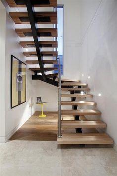 Steel stringer staircase design idea for architect and engineer. Steel stringer staircase design idea for architect and engineer. Stair Railing Design, Stair Decor, Open Stairs, Floating Stairs, Stairs Painted White, White Stairs, Rustic Stairs, Rustic Loft, Rustic Entryway