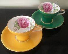 """Vintage Aynsley teacup/ """"Corset"""" shape. English tea cup and saucer/Kelly Green…"""