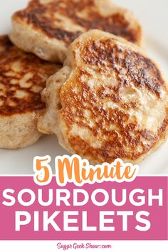 Sourdough pikelets are the easiest and tastiest way to use up your leftover sourdough discard! Takes less than 5 minutes to make! Sourdough Pancakes, Sourdough Recipes, Bread Recipes, Pikelet Recipe, Sourdough Starter Discard Recipe, Mini Foods, Fermented Foods, Starter Recipes, Cooking Recipes
