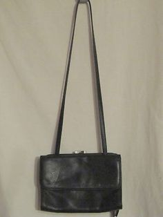 Small Fossil Black Pebble Leather Crossbody Purse Many Compartments Purse