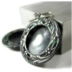 charcoal gray grey earrings with verdigris patina, artisan jewelry,... ($32) ❤ liked on Polyvore featuring jewelry, earrings, handcrafted silver jewelry, silver dangle earrings, silver disc earrings, round silver earrings and round earrings