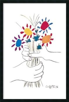 Framed Art Print, 'Hands with Bouquet (Fleurs et Mains)' by Pablo Picasso: Outer Size 25 x 37'