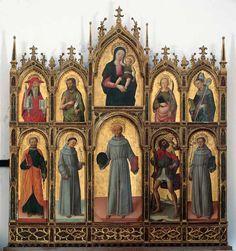 Antonio e Bartolomeo Vivarini - Polittico di Arbe - 1458 - convento di Sant'Eufemia, Arbe (Croazia) Madonna And Child, Holy Ghost, Chiaroscuro, Triptych, Anton, Art History, Renaissance, Empire, Painting