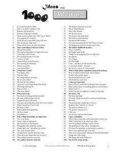 1000 quick writing ideas