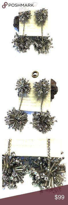 Anthropologie Silver Beaded Firework Earrings Store overstock; New with tags; Anthropologie Silver Beaded Firework Earrings Anthropologie Jewelry Earrings