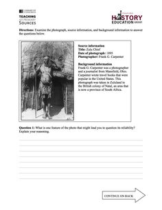 This free assessment asks students source, contextualize, and corroborate. In Question 1, students need to identify an aspect of the photo that might lead students to question the reliability of its content as evidence. In Question 2, students must identify other potential sources of information that might help them evaluate the reliability of this photograph and justify their choice. Visit our website for the complete assessment and grading rubric!