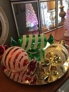 Light up mercury glass candies Christmas Centerpieces, Christmas Bulbs, Christmas Decorations, Xmas, Table Decorations, Holiday Decor, Valerie Parr Hill, Christmas Gingerbread, Mercury Glass