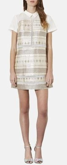 Look at this metallic beauty! Shift dress by Topshop.