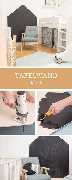 DIY for the children& room: how to build a panel w .- DIY fürs Kinderzimmer: Tafelwand zum Beschreiben bauen / how to build a panel w… DIY for the children& room: build a blackboard to write on … - Diy Furniture Renovation, Diy Furniture Cheap, Diy Furniture Hacks, Furniture Legs, Barbie Furniture, Garden Furniture, Furniture Design, Panel W, Diy Casa