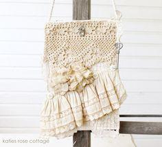 Vintage Lace and Rose Mini Tote ~ Bridal Vintage Tote