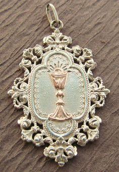 Antique Religious Medal French Sterling Silver Gold by davidjp1927, $62.00