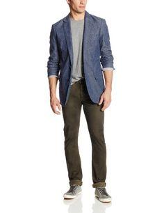 DKNY Jeans Men's Washed Unconstructed Cotton Linen Blazer, Black Iris, Large DKNY Jeans