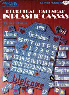 12 x 18 Inch ,Perpetual Calendar in Plastic Canvas, Plastic canvas Calendar Pattern. Leisure Arts 1332, Vintage 1991 by OnceUponAnHeirloom on Etsy