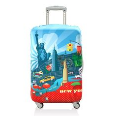 LOQI New York Luggage Cover - Makes finding your luggage a breeze. Luggage Cover, Luggage Bags, New York Central, Central Park, Old Suitcases, Finding Yourself, Make It Yourself, Luggage Accessories, Baggage Claim