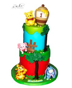 Winnie the pooh first birthday cake. Call or email to order your celebration cake today. Disney Birthday, First Birthday Cakes, Disney Themed Cakes, Cakes Today, Celebration Cakes, Disney Inspired, Custom Cakes, Amazing Cakes, Babyshower