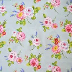 This is rose chintz with duck egg blue behind it. This is what I want for my curtain fabric. Country girl at heart. :)