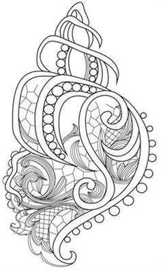 Aquarius - seashell urban threads: unique and awesome embroidery designs pá Colouring Pages, Adult Coloring Pages, Coloring Sheets, Coloring Books, Mandala Coloring, Paper Embroidery, Embroidery Patterns, Machine Embroidery, Urban Threads
