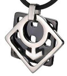#ZZ - Pride Shack - #GayMale_HoneyComb_Pend_PVC_rope Honey Comb - Steel & Titanium Male Symbol Gay Pride Pendant - Gay Pride Necklace - AdoreWe.com