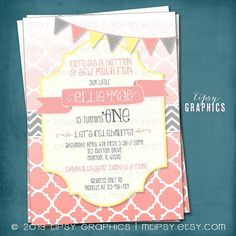 Sew Much Fun.  Ombré Quatrefoil Birthday / Baby / Bridal Shower Invite By Tipsy Graphics