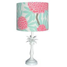 cwd lampshade pink fleur- pineapple base comes in table size & floor size with about ten different shade choices. Adorn Home Products