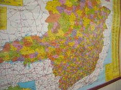 "Minas Gerais #Brazil Wall Map 46x33"" Wood Edge Hanging Canvas Cloth #Spanish  #Map $79"