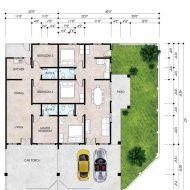 Pelan rumah teres 3 bilik House Layout Plans, House Layouts, House Plans, Semi Detached, Detached House, Floor Plans, House Design, Patio, Flooring