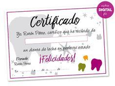 El Ratoncito Pérez siempre certifica que el diente que se le entrega está en perfectas condiciones (o no), dejando un certificado firmado por él mismo, junto al regalo que le deja al niño o niña al llevarse el diente. Éste es un artículo DIGITAL, en formato pdf. Medida: DinA4 - 21 x 29,7 cm (8,3 x