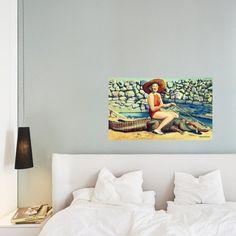 Retro Girl Riding Alligator Canvas Florida Gators Wall Art, Vintage Florida Art, Canvas Art for Bedroom, Gallery wall Art
