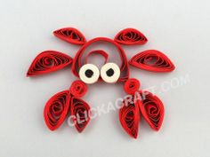 "Quilling Card ""Crab"" - Click on image to see step-by-step tutorial."
