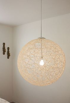 DIY Glowing String Pendant Light via Made By Girl