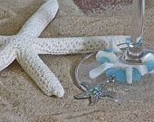 Pale Blue & White Pearl Beach Wine Glass Markers