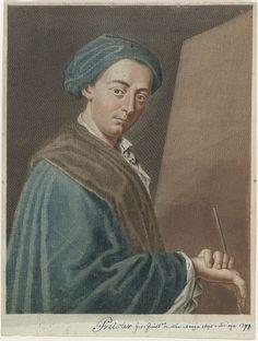 Pietro Antonio Pazzi | Portret van Johannes Justinus Preisler, Pietro Antonio Pazzi, 1721 - 1766 | Portret van Johannes Justinus Preisler (1698-1774). Rechts van hem een leeg doek. In zijn rechterhand houdt hij een penseel.