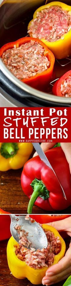 Making Instant Pot Stuffed Bell Peppers can't get any easier than this! Simply fill peppers and cook under pressure. Easy-peasy comfort food ready in no time! #instantpot #stuffedpeppers #homecooking #easymeal #pressurecooking #comfortfood #lunch #dinner #howtomake #filledpeppers via @happyfoodstube