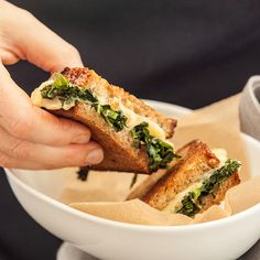 Sneak soft cooked greens into the middle of a warm grilled cheese sandwich to add a bit of nutrition to this comforting meal. Substitute your favorite greens for kale if you like, and try with oozy Taleggio cheese for a sophisticated twist. Yummy Snacks, Yummy Food, Yummy Yummy, Delish, Whole Food Recipes, Snack Recipes, Health Recipes, Pasta Side Dishes, Vegan Main Dishes