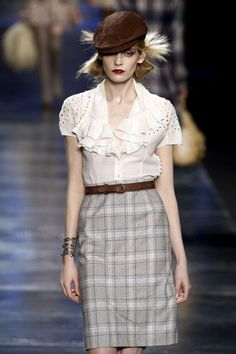 Christian Dior Fall 2010 / Headpiece is inspired by a Deerstalker men's hat of c. 1870s