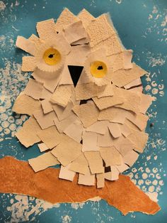 torn paper snowy owls for prek also making it out of different material like sand paper squares, furry squares, etc would be great for sensory