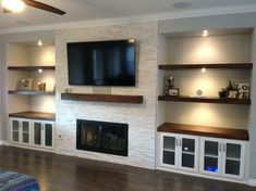 Basement fireplace - 60 Brilliant Built In Shelves Design Ideas for Living Room Fireplace Tv Wall, Basement Fireplace, Fireplace Built Ins, Fireplace Remodel, Living Room With Fireplace, Fireplace Design, Fireplace Ideas, Shelving By Fireplace, Floating Shelves By Fireplace