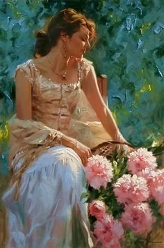 ⊰ Posing with Posies ⊱ paintings of women and flowers - Richard S. Johnson