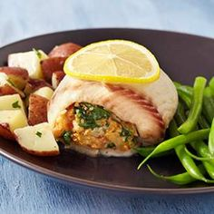 Spinach & Gruyere Stuffed Tilapia  Couldn't find large enough filets.  Prepared open face with stuffing on top, baked.  Topped with Panko and broiled until brown.