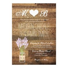 Mason Jar Lavender Barn Wood Wedding Invitations