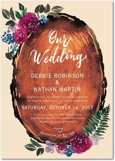 From botanical leaves to vibrant blossoms, this wedding invitation is perfect for the nature-loving couple or outdoor nuptials.
