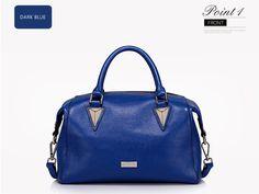 Niebieska, skórzana, stylowa torebka - propozycja nr 6 http://misskate.pl/eleganckie-torebki-skorzane-2016