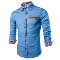 Casual Trendy Style Men Autumn Long Sleeve Turn Down Collar Denim Shirts Fashionable Cotton Style Male Jeans Shirt Tops quality
