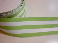 Wired Ribbon, Green and White Stripe Grosgrain Wired Fabric Ribbon 2 1/2 inches wide x 5 yards, Offray Mono Stripe Ribbon by GriffithGardens on Etsy