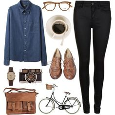 certifiedcynic:  moonandtrees:  Casual is not sloppy - Polyvore on We Heart It - http://weheartit.com/entry/59032977/via/aquaminttea Hearted from: http://www.polyvore.com/cgi/set?id=79514261  needs a better bike.