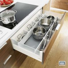 Pot and pan storage – white kitchen pan drawer dividers fit Blum Intivo drawers, and include pot lid storage plus everyday utensils. Kitchen Pans, Kitchen Drawers, Kitchen Cabinetry, New Kitchen, Long Kitchen, 1950s Kitchen, Vintage Kitchen, Floors Kitchen, Ranch Kitchen