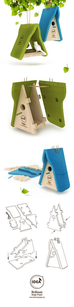 Birdhouse and bird feeders by Tatiana Burdyugina, via Behance