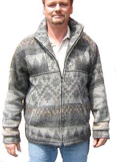 Herren #Jacke peruanische Alpakawolle Grau Satin Futter (Medium)